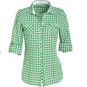 DELIA'S Gingham Tab-Sleeve Shirt